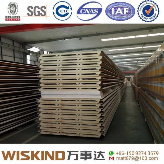 Thermal Insulated 50mm PU/EPS/PIR Sandwich Panel for Wall and Roof of Steel Frame Structure