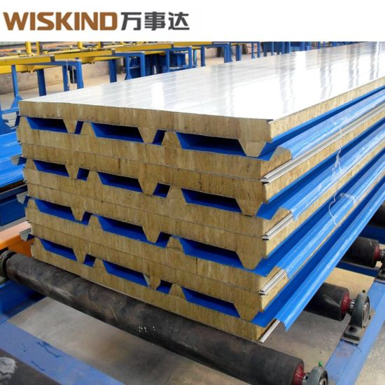 Insulated Corrugated Rock Wool Sandwich Panel with Fireproof Grade a